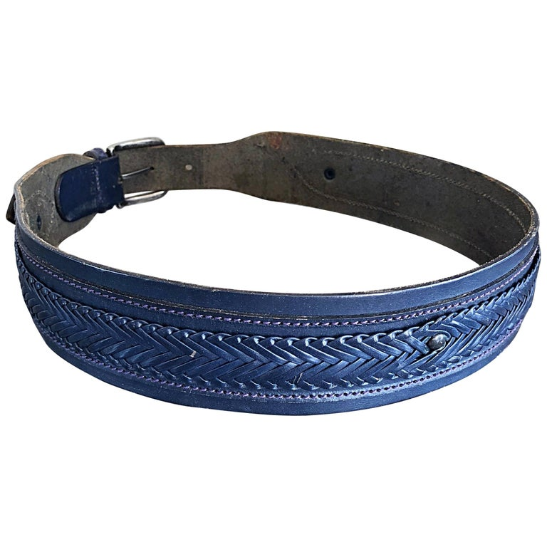 Vintage Giorgio Armani Navy Blue 1980s Unisex Leather Braided Western 80s Belt For Sale
