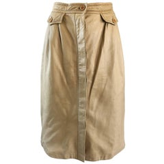 1970s Gucci Tan Leather Incredible Vintage 70s Skirt w/ Pockets