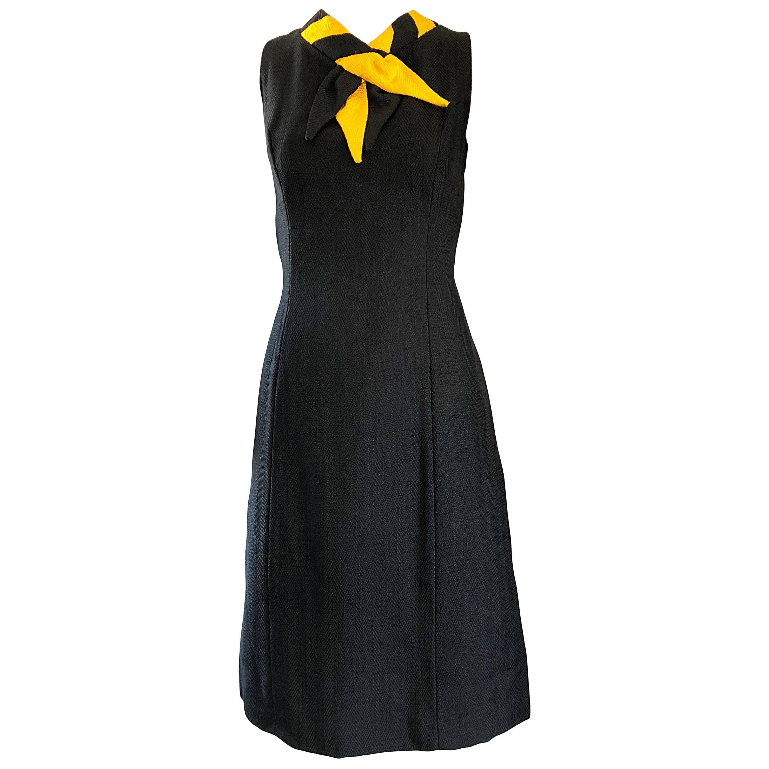 Chic 1960s Joseph Magnin Black and Yellow Vintage 60s Shift Dress