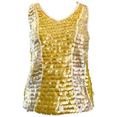 1960s Yellow + White + Clear Paillettes Sequined Lamb's Wool Sleeveless 60s Top