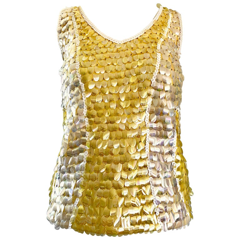 1960s Yellow + White + Clear Paillettes Sequined Lamb's Wool Sleeveless 60s Top For Sale