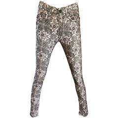 Isabel Marant Size 2 Mosaic Flower Print High Waisted Skinny Corduroy Pants