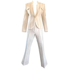 Vintage Max Nugus Couture 1990s White + Beige Polka Dot 90s Tailored Pant Suit