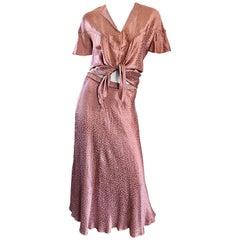1970s Holly's Harp Pink Rose Leopard Print Vintage 70s Silk Crop Top + Skirt