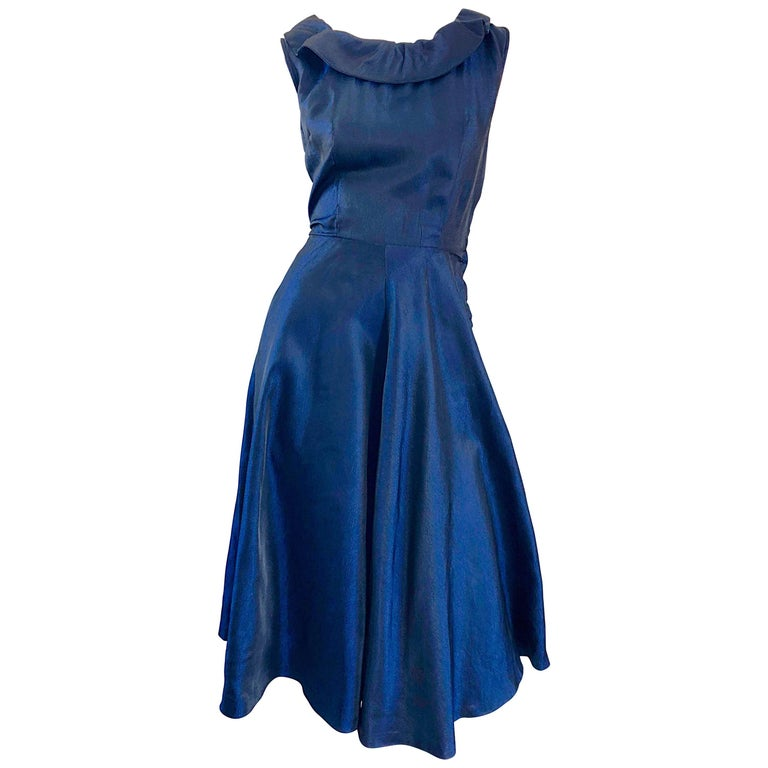 40244b7274b 1950s Navy Midnight Blue Fit n   Flare Vintage 50s Demi Couture Silk Dress  For Sale