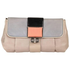 BALENCIAGA Gray Leather Cherche Midi Clutch Bag