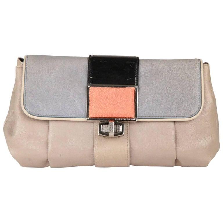 BALENCIAGA Gray Leather Cherche Midi Clutch Bag