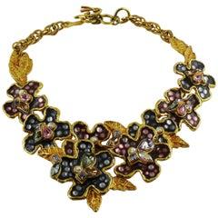 Christian Lacroix Vintage Enamel Flowers Necklace
