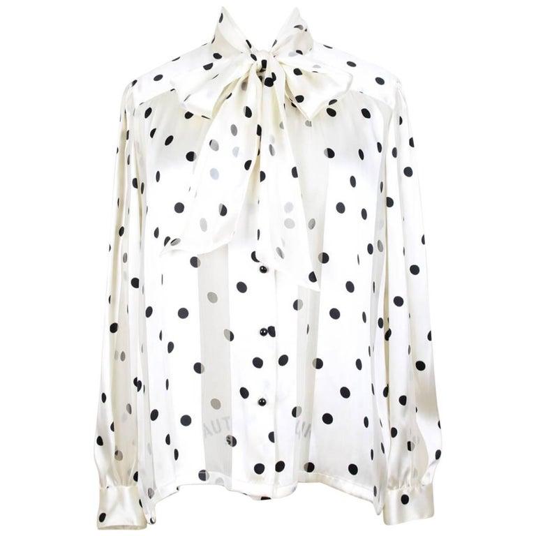 Louis Féraud Cream & Black Polka Dot Silk Bow Tie Vintage Blouse, 1980s