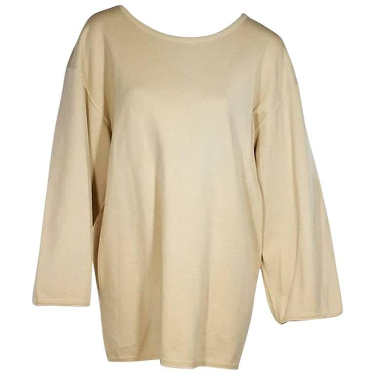 Cream Vintage Alaia Oversized Wool Sweater For Sale