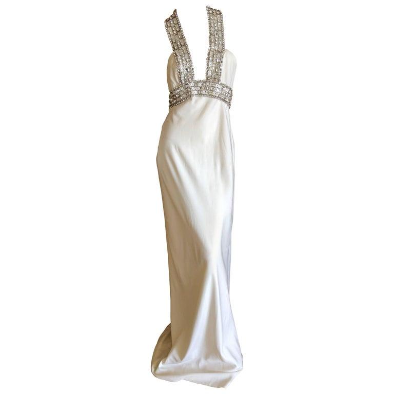 Azzaro Low Cut Ivory Dress with Bold Crystal Jewel Details