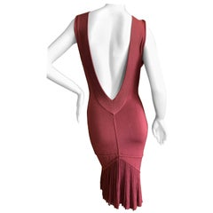 Azzedine Alaia Vintage 1991 Museum Exhibited Low Cut Red Dress w Fishtail Back