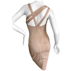Azzedine Alaia  Vintage 1980's Tan Cross Back  Dress with  Inserts New with Tags