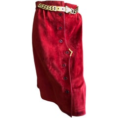 Gucci 1970's Red Leather Trim Suede Skirt with Chain Details and Big GG Buttons