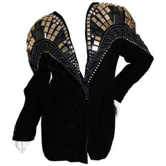 Krizia by Mariuccia Mandelli 1980's Chrysler Building Studded Velvet Jacket