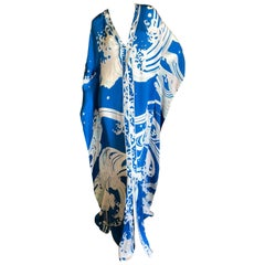 Leonard Paris Silk Hiroshigi Wave Print Caftan New with Tags