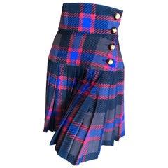 Yves Saint Laurent Rive Gauche Vintage 70's Plaid Pleated Kilt Style Wrap Skirt