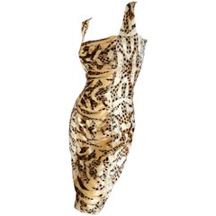 Roberto Cavalli Vintage Ruched Silk Leopard Print Dress