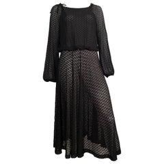 Geoffrey Beene 1980s Black Sheer Lace Evening Dress Size 6/8.
