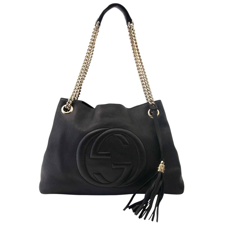 ae14002b78c Gucci Black Soho Large Leather Double-Chain-Strap Shoulder Bag For Sale