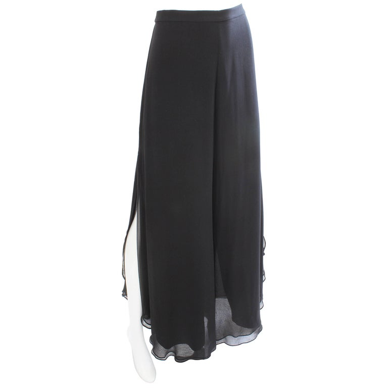 St John Evening Black Silk Chiffon Palazzo Pants with Side Vent Sz 8