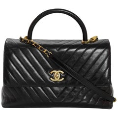 Chanel 2017 Black Distressed Calfskin Leather Medium Coco Top Handle Bag