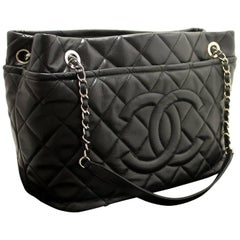 CHANEL Caviar Chain Shoulder Bag Shopping Tote Black Quilted SV