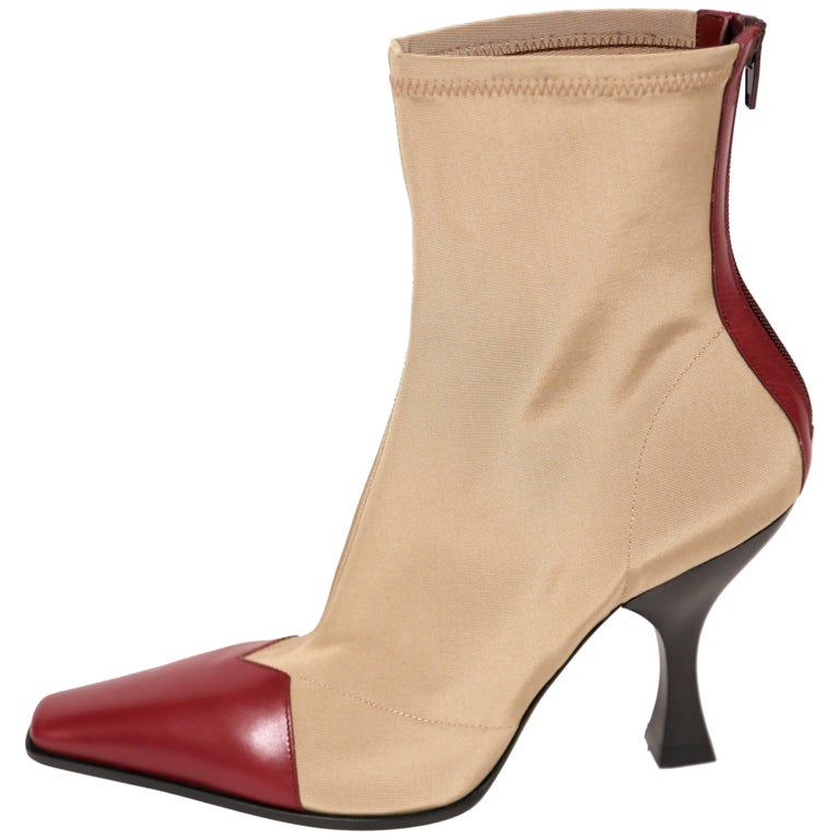 new CELINE by Phoebe Philo tan 'Madame' ankle boots with burgundy leather FR 40