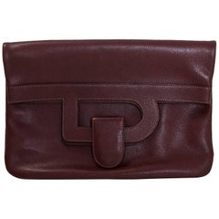 Delvaux Oxblood Leather Fold-Over Clutch Bag
