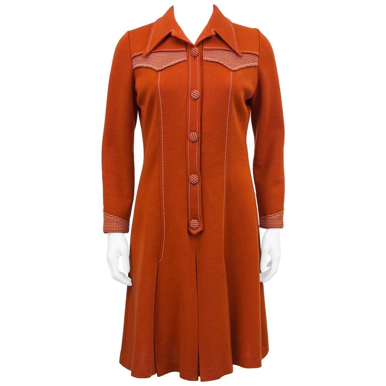 1970s Brick Red Dress with Contrasting Stitching