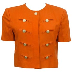 1980s Louis Feraud Orange Military Style Cropped Jacket