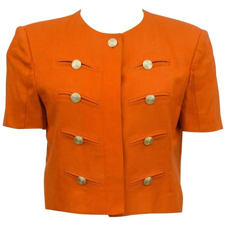 1980s Louis Feraud Orange Military Style Cropped Jacket