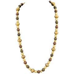Givenchy Bronze and Gold Beaded Necklace, 1970s