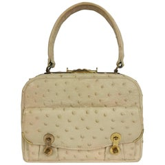 Cream ostrich leather frame gold hardware handbag, 1960s