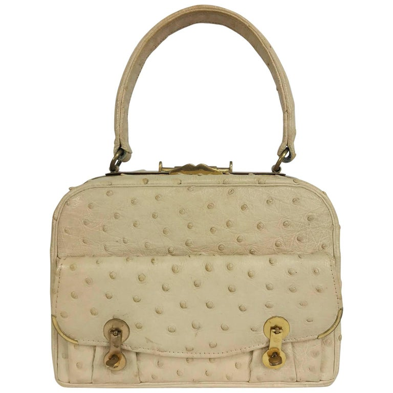 Cream ostrich leather frame gold hardware handbag, 1960s For Sale