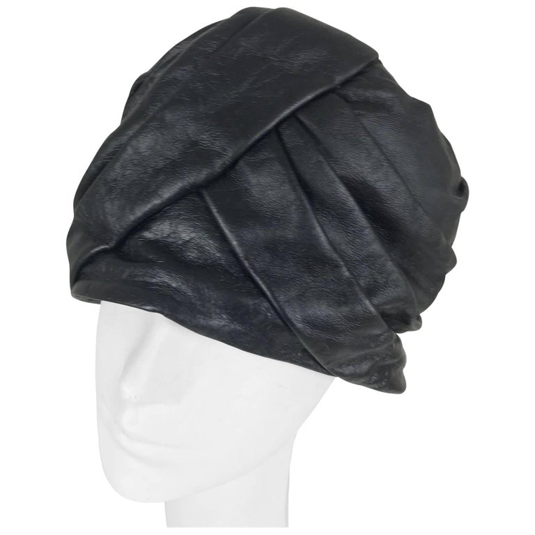 Mr John Jr black leather turban style hat, 1960s For Sale