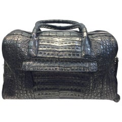 Nancy Gonzalez Silver Metallic Crocodile Handbag