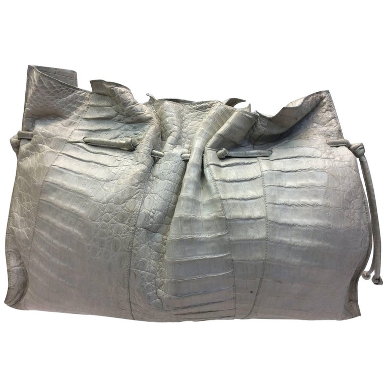 Nancy Gonzalez Cream Crocodile Handbag