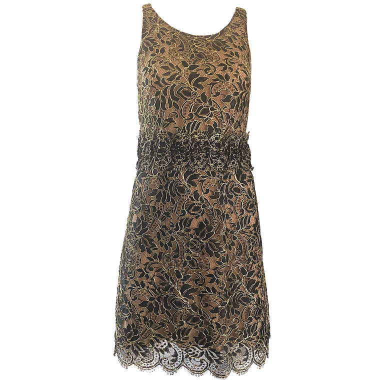 Balenciaga by Nicolas Ghesquiere Black + Gold + Nude Silk Chiffon Lace Dress For Sale