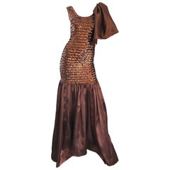Incredible Vintage Brown Sequin Flamenco Style Mermaid Evening Dress / Gown