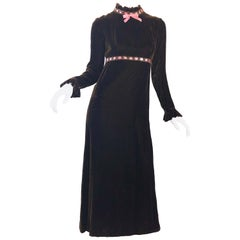1970s Chocolate Brown + Pink Ribbon Silk Velvet Gorgeous 70s Vintage Maxi Dress