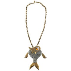 1960s Large Articulated Fish Gold + Silver Two Tone Vintage 60s Novelty Necklace