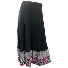 Beautiful 1940s Black Silk Crepe Flower Leopard Hem Vintage 40s Maxi Skirt