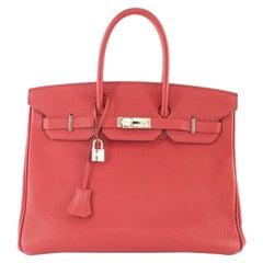 Hermes Birkin Handbag size 35 in Rouge Grenade With Palladium Hardware (PHW)