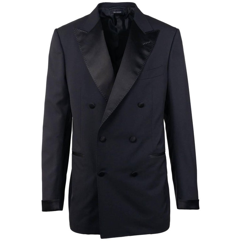 Tom Ford Black Wool Double Breast Tuxedo Shelton Two Pc Suit