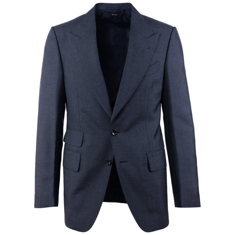 Tom Ford Navy Mohair Peak Lapel Button Front Two Piece Suit