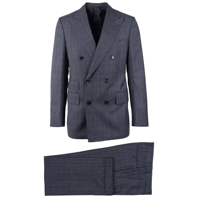 Tom Ford Grey Wool Double Breast Shelton Two Pc Suit