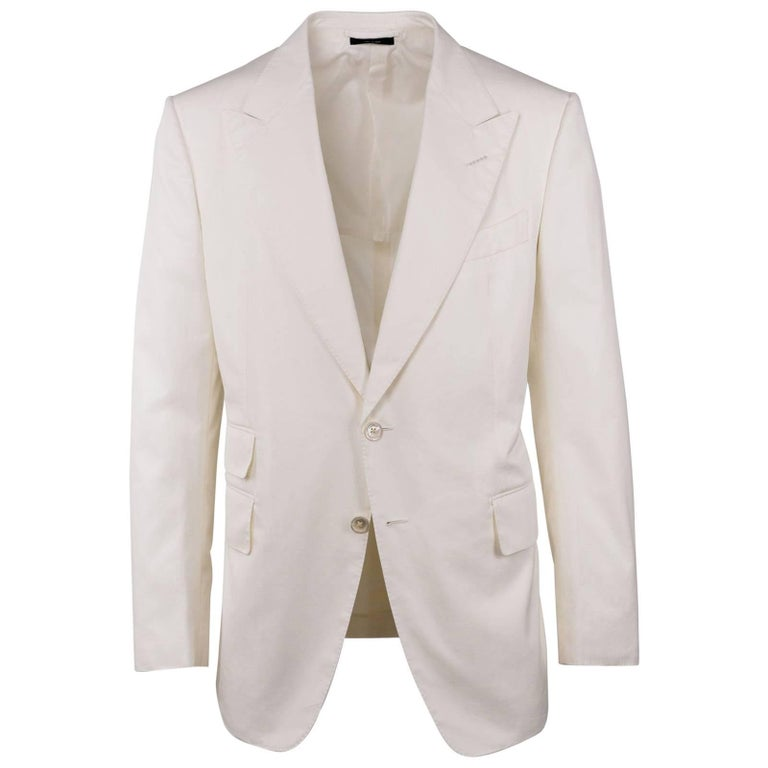 Tom Ford Men's Ivory Cotton Peak Lapel Two Piece Shelton Suit