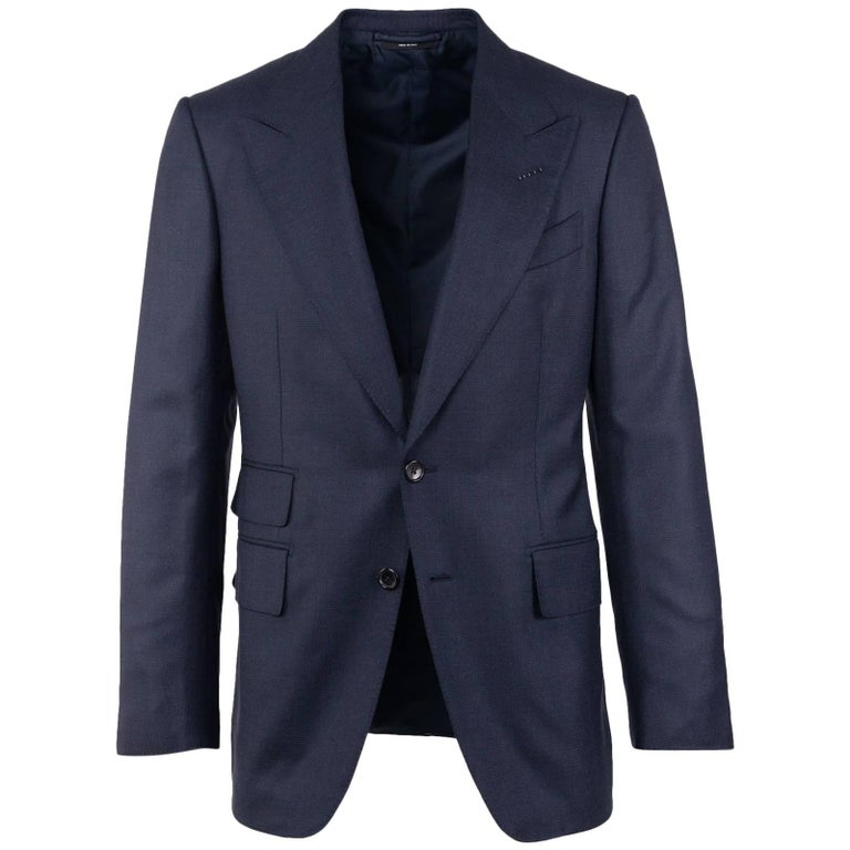 Tom Ford Navy Wool Blend Irregular Canvas Shelton Two Pc Suit