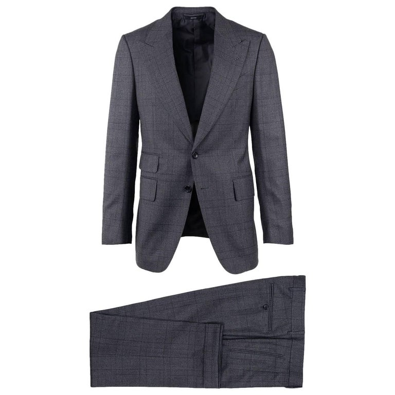 Tom Ford Mens Grey Wool Checked Peak Lapel Two Button Suit